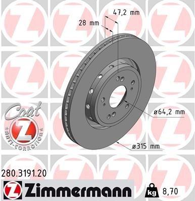 Bremsscheibe ZIMMERMANN 280.3191.20