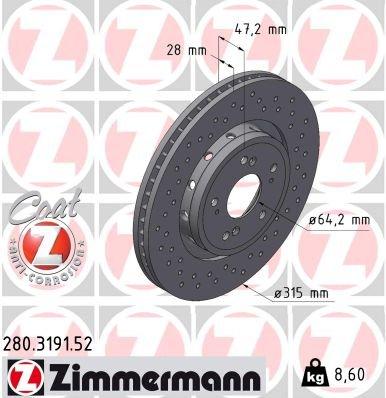 Bremsscheibe ZIMMERMANN 280.3191.52