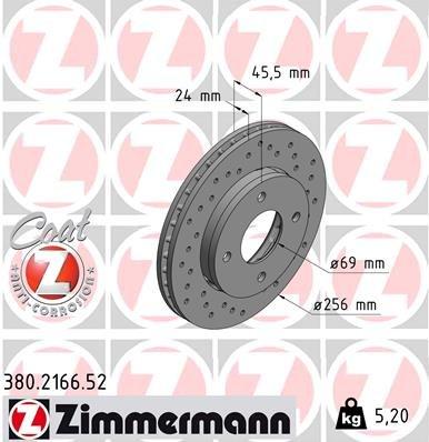 Bremsscheibe ZIMMERMANN 380.2166.52