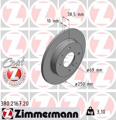 Bremsscheibe ZIMMERMANN 380.2167.20
