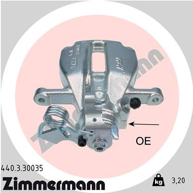 Bremssattel Hinterachse links ZIMMERMANN 440.3.30035