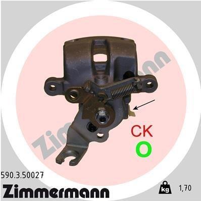 Bremssattel Hinterachse links ZIMMERMANN 590.3.50027