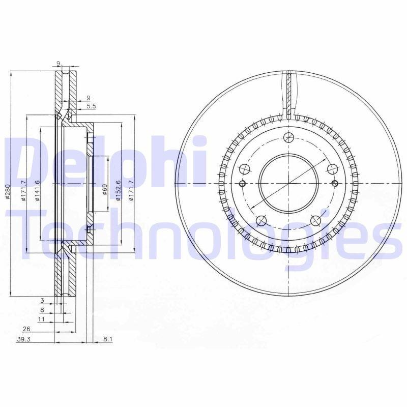 Bremsscheibe DELPHI BG3861C