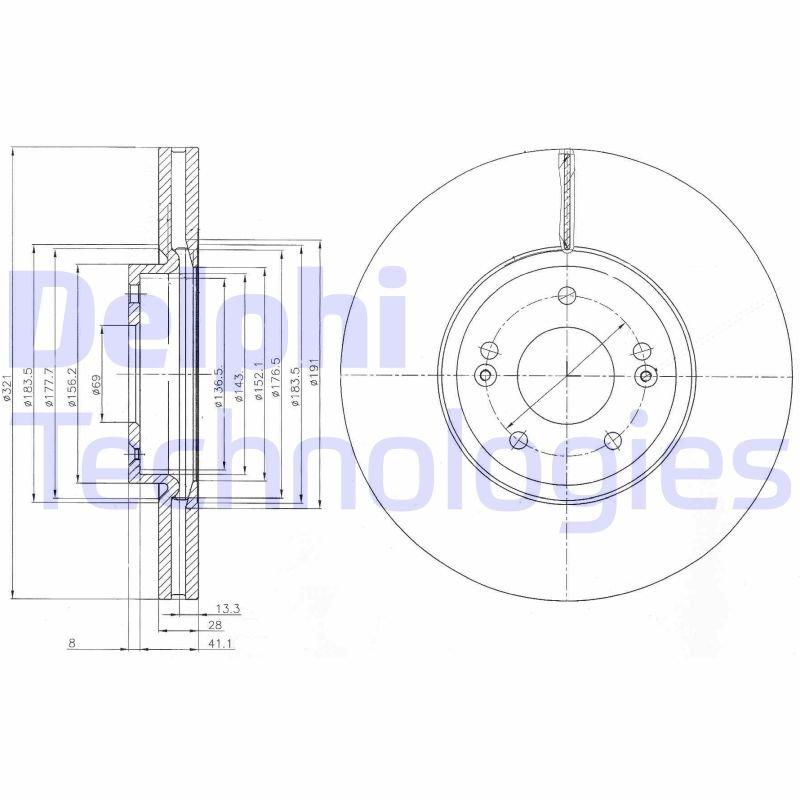 Bremsscheibe DELPHI BG9056C