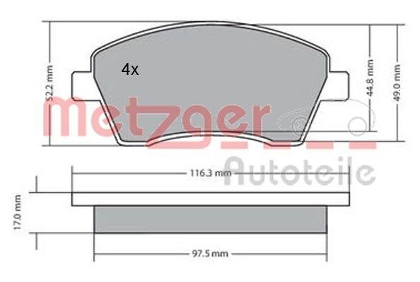 Bremsbelagsatz, Scheibenbremse Vorderachse METZGER 1170029