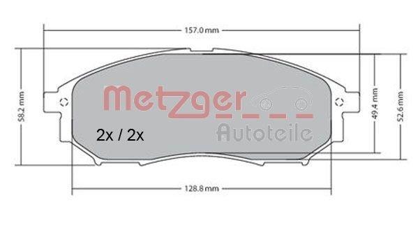 Bremsbelagsatz, Scheibenbremse Vorderachse METZGER 1170101