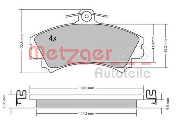 Bremsbelagsatz, Scheibenbremse Vorderachse METZGER 1170143