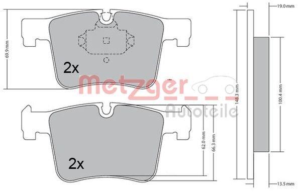 Bremsbelagsatz, Scheibenbremse Vorderachse METZGER 1170469