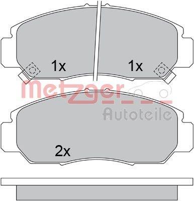 Bremsbelagsatz, Scheibenbremse Vorderachse METZGER 1170536