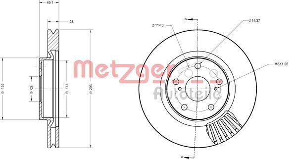Bremsscheibe METZGER 6110355
