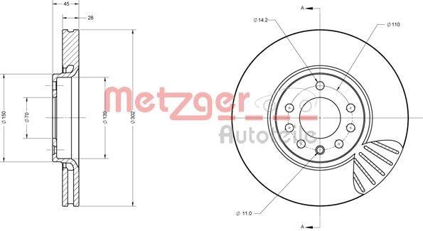 Bremsscheibe METZGER 6110404