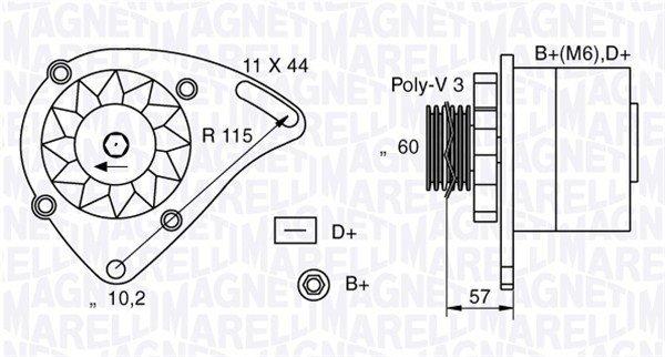 Generator 12 V MAGNETI MARELLI 063321173010
