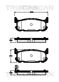 Bremsbelagsatz, Scheibenbremse TRISCAN 8110 50024