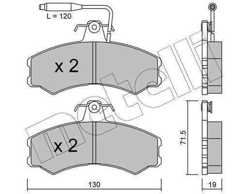 Bremsbelagsatz, Scheibenbremse METELLI 22-0031-0