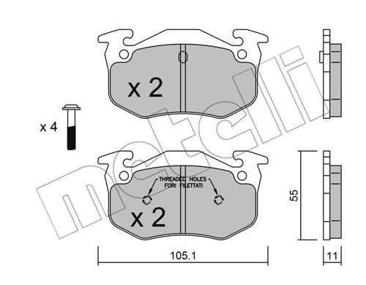 Bremsbelagsatz, Scheibenbremse METELLI 22-0038-1