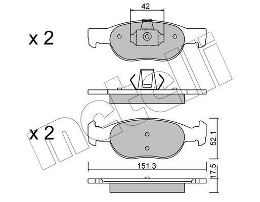 Bremsbelagsatz, Scheibenbremse METELLI 22-0079-1