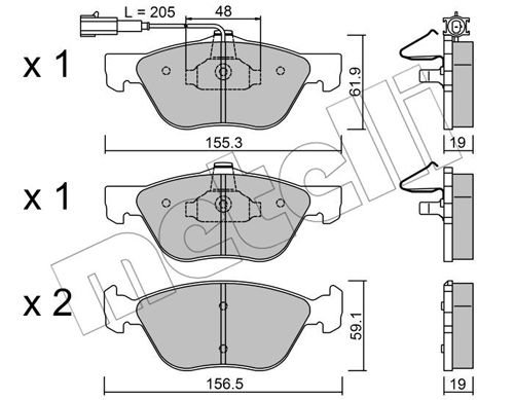 Bremsbelagsatz, Scheibenbremse METELLI 22-0083-2