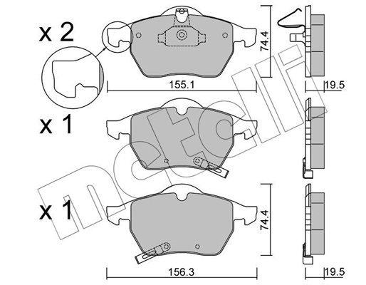 Bremsbelagsatz, Scheibenbremse METELLI 22-0118-1