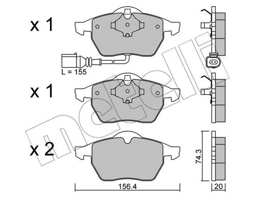 Bremsbelagsatz, Scheibenbremse METELLI 22-0181-4