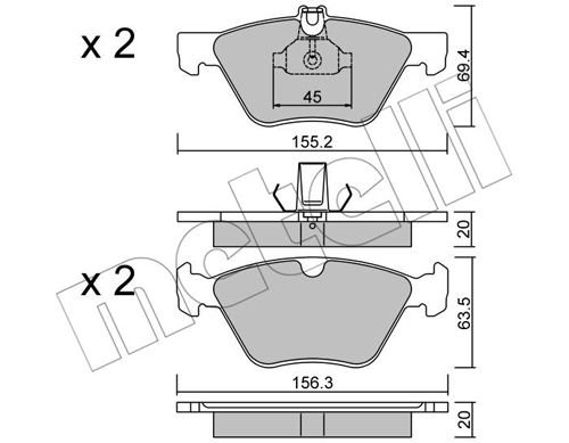 Bremsbelagsatz, Scheibenbremse METELLI 22-0252-0