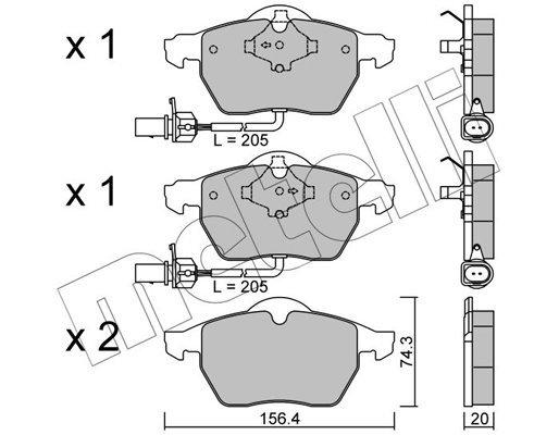 Bremsbelagsatz, Scheibenbremse METELLI 22-0314-0