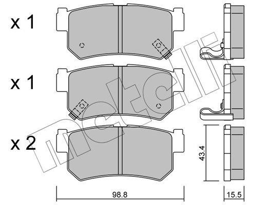 Bremsbelagsatz, Scheibenbremse METELLI 22-0519-0 Bild 1