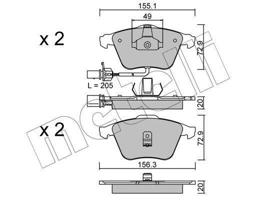 Bremsbelagsatz, Scheibenbremse METELLI 22-0549-0