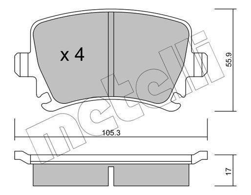 Bremsbelagsatz, Scheibenbremse METELLI 22-0553-0
