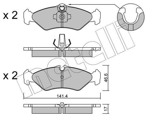 Bremsbelagsatz, Scheibenbremse Hinterachse METELLI 22-0571-1