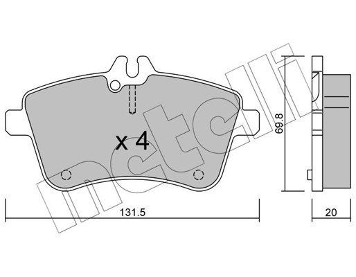Bremsbelagsatz, Scheibenbremse METELLI 22-0647-0