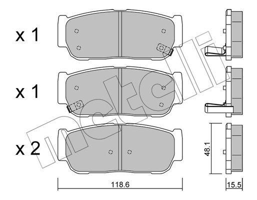 Bremsbelagsatz, Scheibenbremse METELLI 22-0727-0 Bild 1