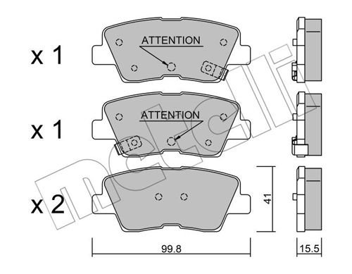 Bremsbelagsatz, Scheibenbremse Hinterachse METELLI 22-0886-1