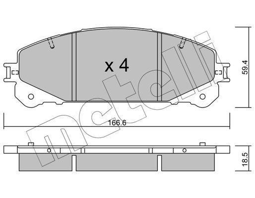 Bremsbelagsatz, Scheibenbremse Vorderachse METELLI 22-0938-1