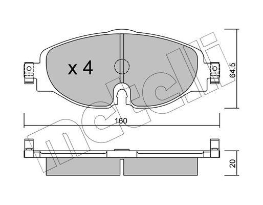 Bremsbelagsatz, Scheibenbremse METELLI 22-0950-0