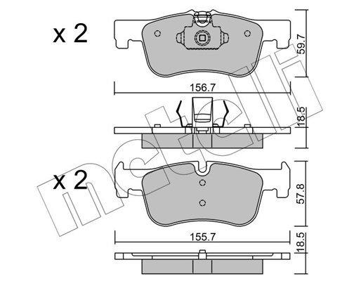 Bremsbelagsatz, Scheibenbremse Vorderachse METELLI 22-0959-0