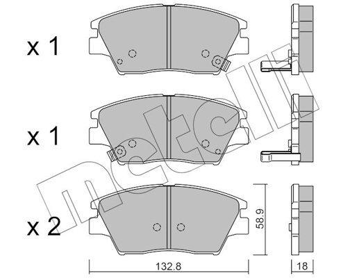 Bremsbelagsatz, Scheibenbremse METELLI 22-1098-0 Bild 1