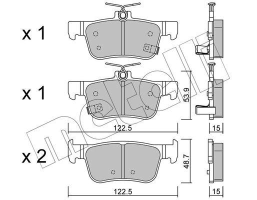 Bremsbelagsatz, Scheibenbremse Hinterachse METELLI 22-1131-0