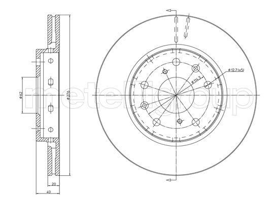 Bremsscheibe Vorderachse METELLI 23-1217C