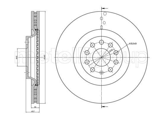 Bremsscheibe Vorderachse METELLI 23-1243C
