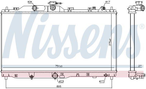 Kühler, Motorkühlung NISSENS 606109