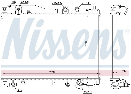 Kühler, Motorkühlung NISSENS 68109