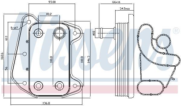 Ölkühler, Motoröl NISSENS 90622 Bild 3