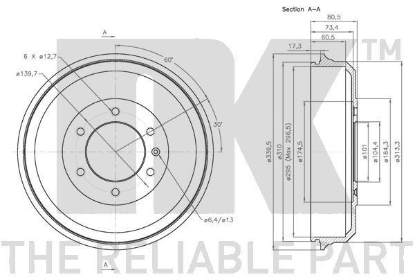 Bremstrommel NK 251402 Bild 3