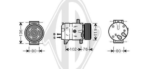 Kompressor, Klimaanlage 12 V DIEDERICHS DCK1462