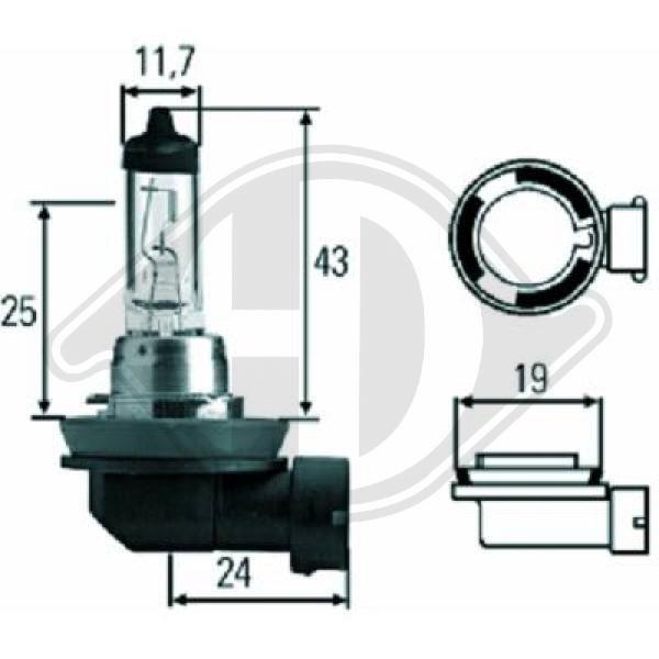 Glühlampe, Fernscheinwerfer 12 V DIEDERICHS LID10034