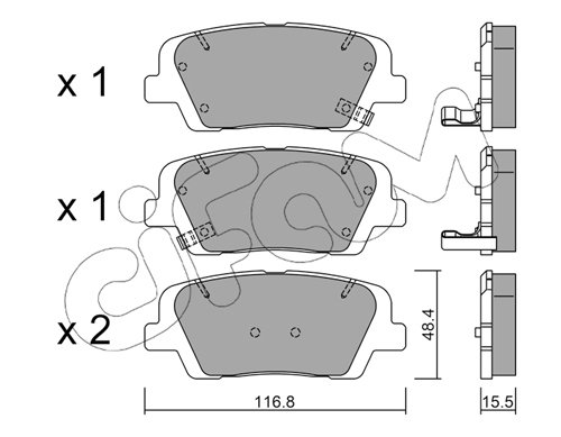 Bremsbelagsatz, Scheibenbremse Hinterachse CIFAM 822-901-0
