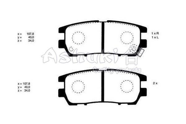 Bremsbelagsatz, Scheibenbremse Hinterachse ASHUKI C016-05