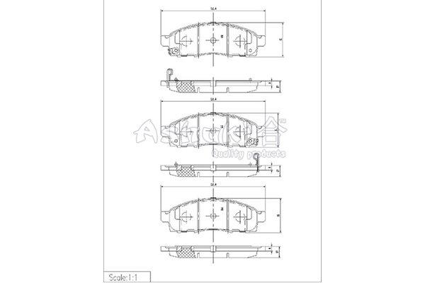 Bremsbelagsatz, Scheibenbremse Vorderachse ASHUKI N009-93