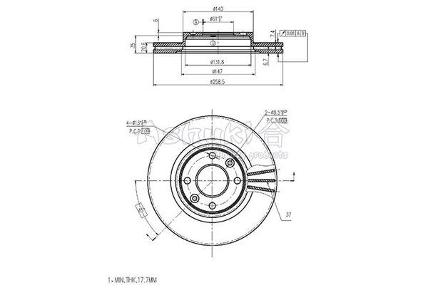 Bremsscheibe Vorderachse ASHUKI N013-19